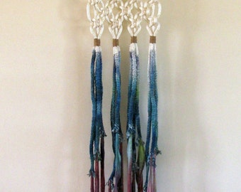 Macrame Wall Hanging - Twisty Springs and Purple Blue Dip Dye with Jute Wrapping