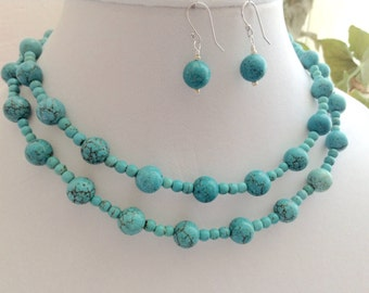 Tempting Magnesite - Necklace and Earrings Set