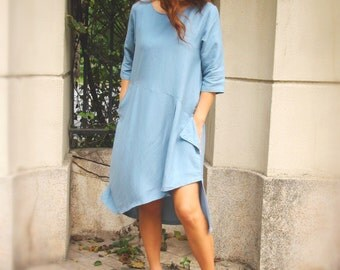 Linen Dress / Handmade Dress / Women's Linen Clothing / Women's Dress / Asymmetrical Dress / Maternity Dress / Summer Dress / Blue