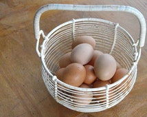 Large French Wire Egg Basket. Vintage Wire Egg Storage Basket. Vintage French Farmhouse Décor