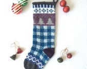 Hand Knit Christmas Stocking with Trees in Snowfall in Blues, Purples and Grays