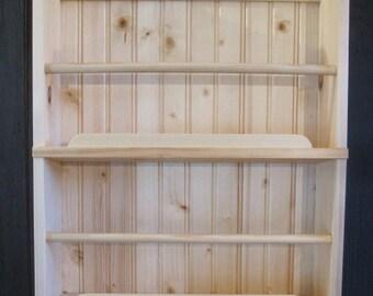 Narrowboat cabin wall shelves