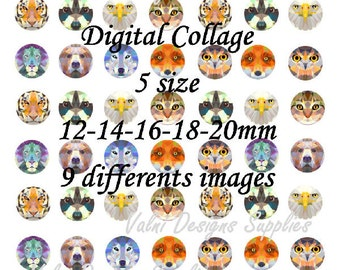 Wild Animals, Digital Collage Sheet, Ready to print, 12mm, 14mm, 16mm, 18mm, 20mm, Instant Download
