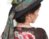 Boho Hat, Big Boho Hat Kit, Boho Hat Sash and Peacock Feathers, Bohemian Hat Transformation Kit