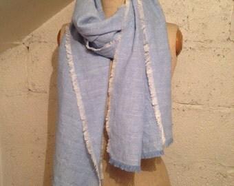 Cornflower Blue Weave Linen Blend 'Lucy' Scarf