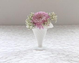 Vintage Milk Glass Vase / Small Milk Glass Vase / White Vase / Small Ruffled Edge Vase / Wedding Vase