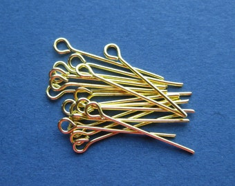 100 Eye Pins - Gold Plated Pins - Findings - 2.2cm -- (A7-10869)