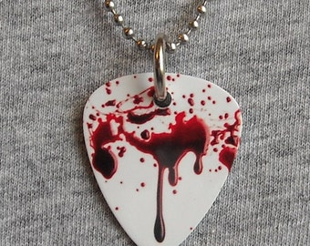 Metal Guitar Pick Necklace BLOOD SPLATTER horror movie gore bloody terror gothic vampire 2-sided pendant charm