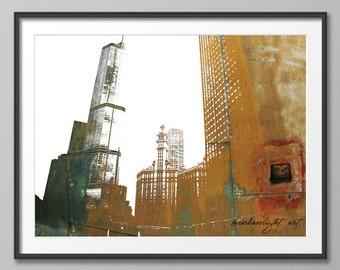 Chicago Building, Urban Grunge, Illinois  Buildings, Urban Silhouette, Architecture,  Art Print, Poster, Modern Art, Painting
