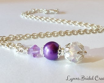 Lilac Bridesmaid Necklace Crystal Necklace Lilac Crystal Pendant Bridesmaid Gift Purple Necklace Jewelry Set Crystal Jewelry Wedding Gift