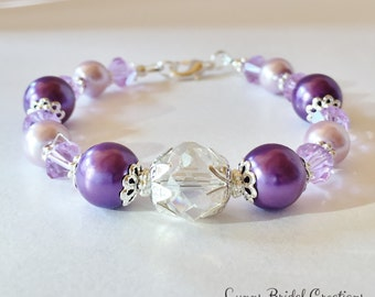 Lilac Bridal Bracelet Lilac Crystal Jewelry Lavender Bridesmaid Gift Wedding Party Gift Purple Crystal Bracelet Mother of the Bride Gift
