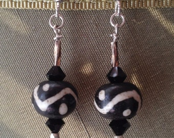 ECHOS, Sterling Silver, Handmade, Decorative Glass Beads, Swarovski Crystals, Antiqued Silvertone Beads, Sterling Silver SlipLess™ ear wires