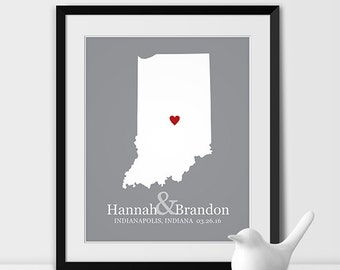 Indiana Map Art, Indianapolis Indiana Wedding Gift for Couples Wedding Gift for Anniversary Gift for Him Indiana Gift -Any STATE