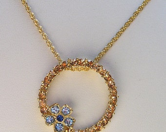1928 Jewelry Colorado Crystal Circle Pendant Necklace