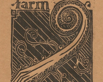 Fiddlehead Farm Lino Block Print