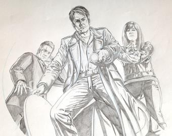 Torchwood. Original pencil illustration of the Torchwood team.