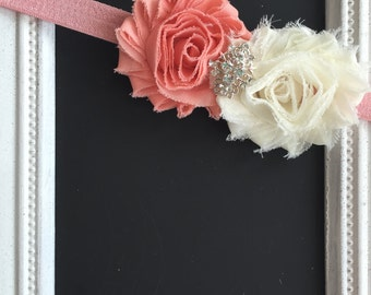 Peach and ivory shabby chic headband