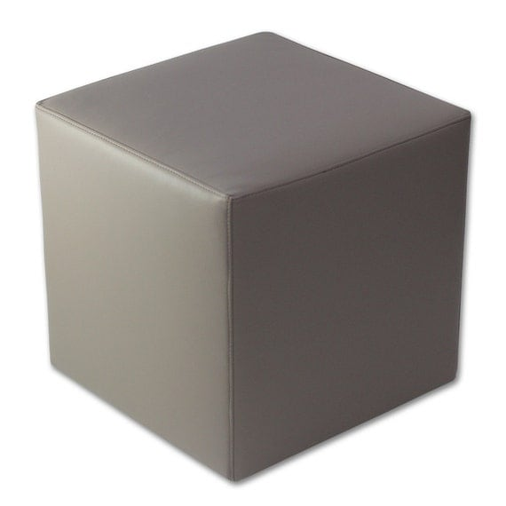grey faux leather cube ottoman molded foam complete