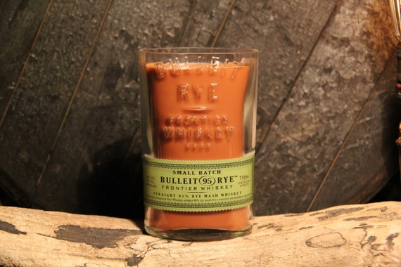Upcycled Bulleit Rye Whiskey Candle - Recycled Bourbon Bottle Candle Handmade Soy Candle 1L Recycled Glass Bottle 22oz Soy Wax