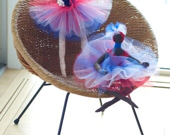 Blond ballerina with a red white and blue tutu