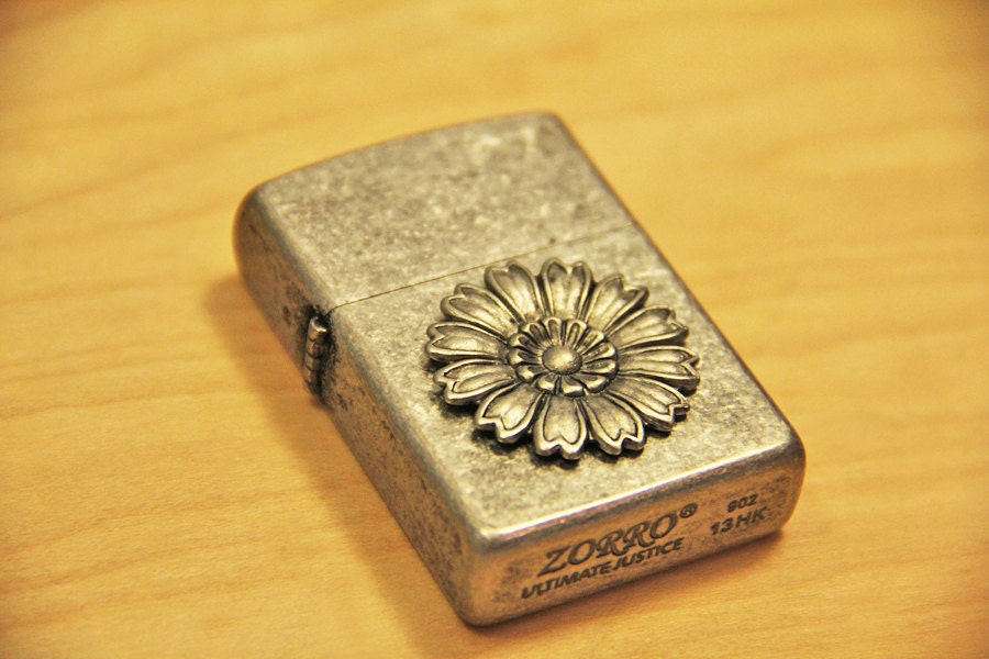 Steampunk sunflower Cigarette Lighter, Zorro Inspired Premium Lighter that is Refillable, Silver palted Flower Floral Charm Vintage steampunk buy now online