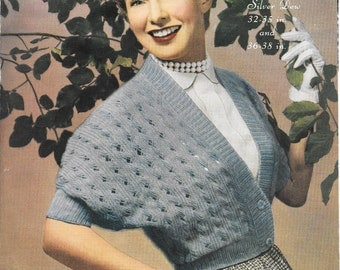 """Vintage Marriners Shrug Knitting Pattern, Womens, DK, Double Knitting,  Ladies, 1950s Classic, Chest Size 32"""" AND 36"""""""