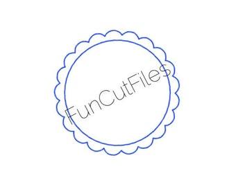 Scalloped Circle Monogram Border Silhouette Studio Cut File
