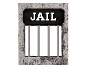 Photo booth props. Printable wanted poster with JAIL sign. Prohibition party supplies: Photo booth prop or a party decoration. Digital print