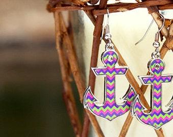 Pink, Blue & Green Chevron Anchors Away Earrings