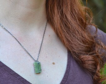 Sterling Silver Hammered and Oxidized Green Kyanite Necklace
