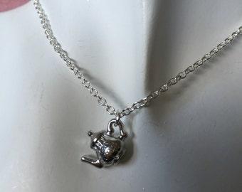 Silver Teapot Charm Necklace, Teapot Pendant, Silver Plated Chain Teapot Necklace, English tea