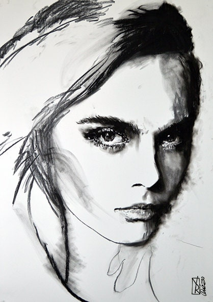 ORIGINAL painting Drawing illustration face charcoal one