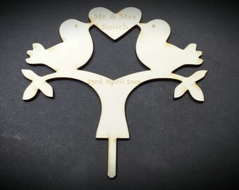 Love Birds Cake Topper, Pesonalised, Made From 3mm Plywood, Wedding Keepsake