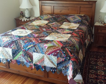 Hand Crafted Full/Queen Sized Quilt Made With Men's 100% Silk Ties!