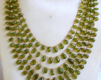 vasonite gemstone faceted beads tear drop necklace strand 5 line