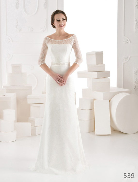 Long Straight Wedding Dresses Of Elegant Long Sleeve Wedding Dress Straight By Soniaandbrides