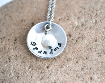 Name necklace - domed necklace - pearl necklace - hand stamped - personalized pearl jewelry - hand stamped necklace engraved necklace
