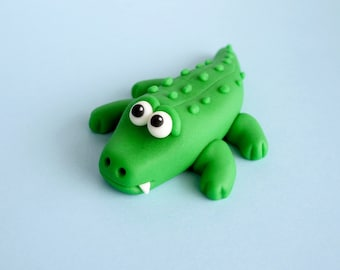 Fondant Alligator. Fondant Animal. Reptile Cake Topper. Edible Animal