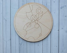 Dr Who themed wooden decorative Gallifreyan wall plaque - Tempus Fugit (unframed)