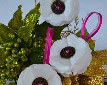 Handmade White Scalloped Felt Christmas Ornament With Metal Button Embellishment