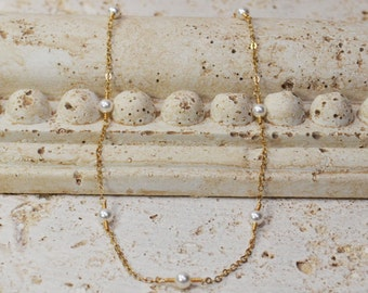 Gold Filled Chain & Pearls Necklace