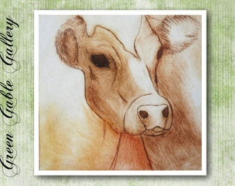 Cow Greetings card,- farm animals design, square format, produced from original Dry point print.- FREE SHIPPING to UK