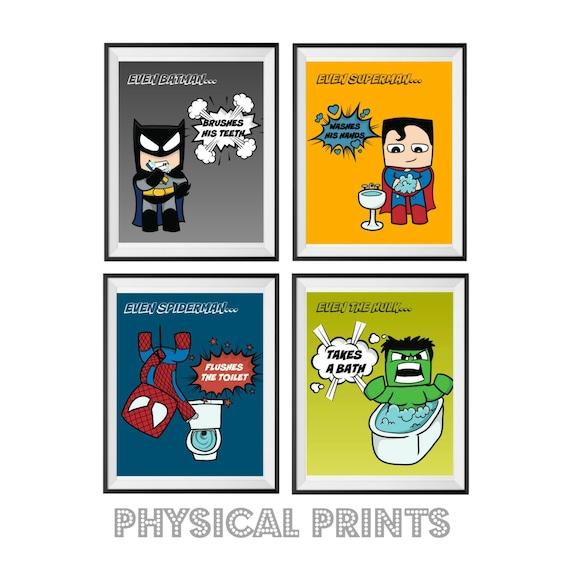8x10 prints children 39 s superhero minecraft style - Marvel superhero bathroom accessories ...