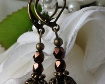 Chocolate Globe Earrings on Loops