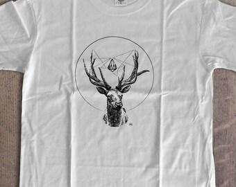 Man Deer Spirit of Nature TShirt Cotton L XL 2XL WHITE