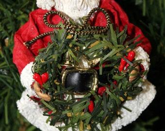 Vintage Kurt S Adler Fabriche Santa Holding Wreath