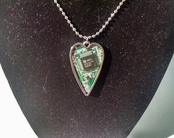 Heart Shaped Circuit Board Necklace Pendant