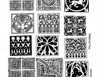 Medieval Tiles - Unmounted rubber stamp - non adhesive