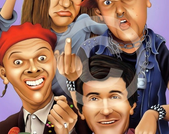 THE YOUNG ONES caricature - artwork print signed by artist - 100 print edition - A3 size