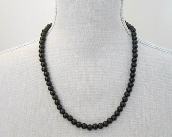 Black Pearl Necklace - Black Necklace - Wedding Jewelry - Pearl Jewelry - Bridal Jewelry - Wedding Necklace - Bridesmaid Necklace